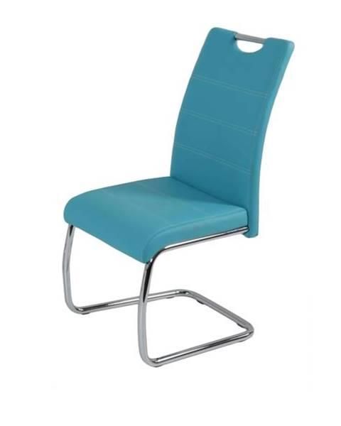 Sconto Jedálenská stolička FLORA S modrá, syntetická koža