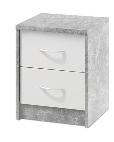 Nočný stolík OPTIMUS 38-009 betón/biela