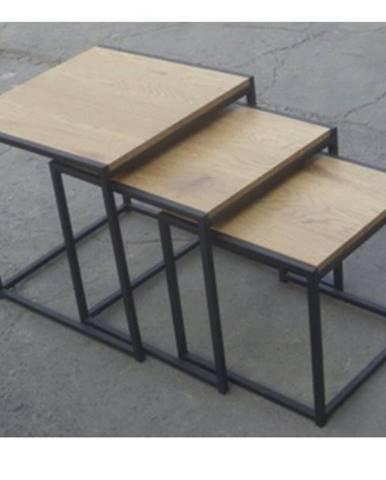 Prístavné stolíky GIRONA divoký dub/čierna
